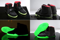 Wholesale Coloured Glow Dark - 5 Colours Kanye West Air 2 ii Black Red October Green Lantern Glow In Dark Women Men's Basketball Sport Footwear Sneakers Shoes