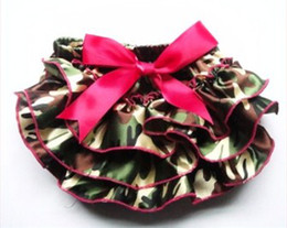 Wholesale Wholesale Baby Ruffle Diaper Cover - Baby Bloomer Camo Satin Bloomer Ruffle baby diaper cover with watermelon bow Newborn toddler outfit 5pcs lot