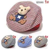 Wholesale Kids Red Beret - retail Baby Hat Animal Kids Hat Bear Cartoon Beret Baby Cap Tartan Design Children Headdress dorp shipping 2014 KH060R