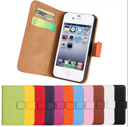 Wholesale S4 Mini Genuine Leather Case - Genuine Leather Stand Wallet Credit bag Case with card slots Holder for iPhone 5 5g 5S 4 4g 4S galaxy S4 mini Cell Phone case bag Cover