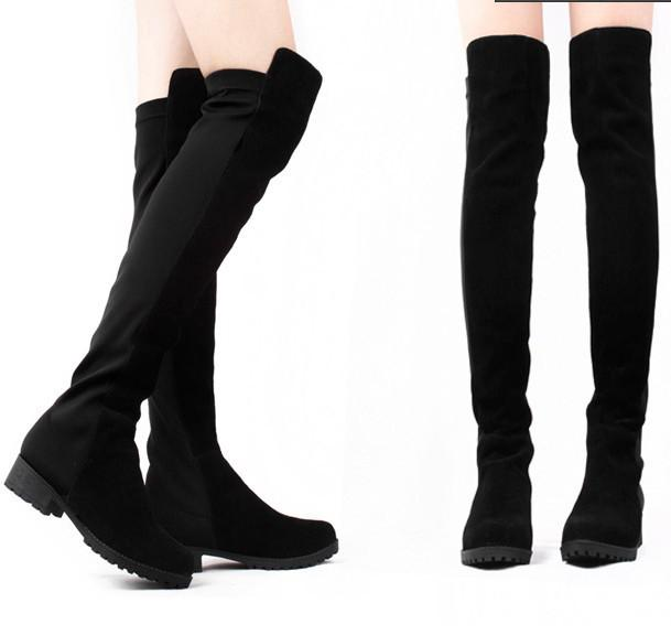 Fashion Designer Black Leather Winter Women Boots Over The Knee