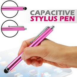 Wholesale Brand Tab - Universal Capacitive Stylus Touch Pen With Clip For iPhone 4 5 5S 5C IPAD 2 3 4 5 Mini Samsung Galaxy Tab Smart Phone iPod HTC Sony