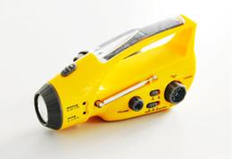 Wholesale Solar Dynamo Charger Flashlight - Dynamo Hand Crank Emergency Solar Power LED flashlight Torch+Charger+FM AM Radio