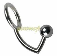 Wholesale Male Anal Intruder - Stainless Steel Anal Sex Ball Anal Plug Hook Sex Toy Anal Intruder Cock Ring Anal Plug Anal Hook with Cock Ring