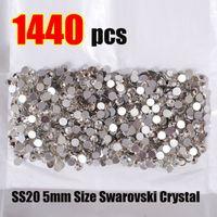 Wholesale hot fix nail art - Wholesale - SS20 5mm Size Swarovski Crystal Hot Fix 1440pcs pack Nail Art Decoration Ornamnt Beauty Fashion 388