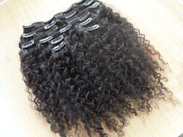 Wholesale new star hair weave - wholesale new star brazilian human hair extensions kinky curly clip in hair weaves natural black color 9 pcs one bundle