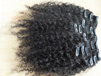Wholesale Curled Clip Hair - new star brazilian curly hair weft clip in kinky curl weaves unprocessed natural black color human extensions can be dyed 1piece