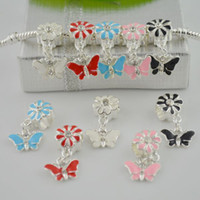Wholesale European Beads Rhinestone Spacer Blue - 100pcs Mix-color Enamel Butterfly Charms Dangle Big Hole European Spacer Beads