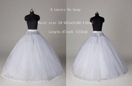 Wholesale Tulle Slip Skirt - Ball Gown Style 8 Layer Tulle No Hoop White Petticoat Wedding Gown Crinoline Petticoat Skirt Slip  3-HOOP Free Shipping