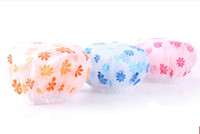 Wholesale Shampoo Women - Multi Color Flower Print EVA Lady Bathing Cap Safe Shampoo Shower Protect Soft Cap Hat for Women Waterproof Wash Hair Shield 5pcs lot RY1429