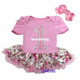Wholesale Birthday Pettiskirt - Wholesale-2 Piece Set - Baby Glitter 1st Birthday Pink Rose Pettiskirt Bodysuit and Headband 0-18M