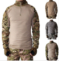Wholesale long sleeve padded shirts - Tactical Mens TDU Rapid Hunting Assault Combat Airsoft Paintball W Airsoft Outdoor Long Sleeve T-Shirt Shirts Removable elbow pad