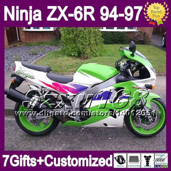 7gifts Custom Green White For KAWASAKI NINJA ZX6R 94 97 ZX 6R