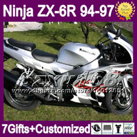 7gifts customPara KAWASAKI NINJA ALL Plata ZX6R 94-97 ZX-6R ZX 6R 94 95 96 97 SZ508 6 R Brillo plateado 1994 1995 1996 1997 Carenado Carrocería