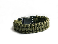 Wholesale Green Survival Bracelet - 6Pcs Army Green Paracord Bracelet Outdoor Bracelet With Plastic Button Survival Escape Life-saving Army Green Bracelet For Sports Handmade