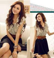 Wholesale korean chiffon mini dress - Hot new Korean Women Summer New Fashion Chiffon Dress Short-sleeve Dots Polka Waist Mini Beige+Black With Belt Free Shipping 975