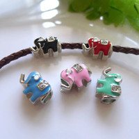 Wholesale Silver Tone Metal Charms - 20PCS Mixed Big Hole Enamel Elephant Beads Antique Silver tone European Metal Beads For Charms Bracelet Chain Jewelry Findings
