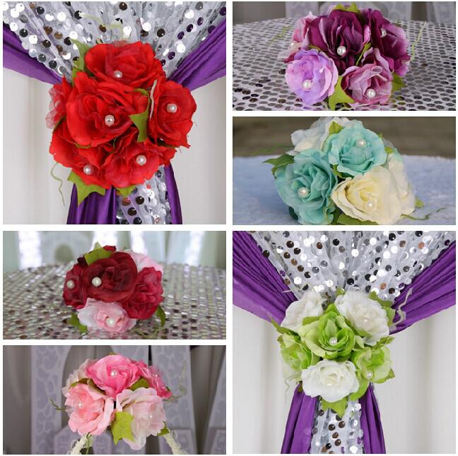 Beautiful Artificial Rose Silk Flower Gauze Curtain Clip