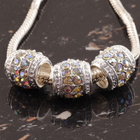 Wholesale European Rhinestone Drum - 20pcs White AB Crystal Silver Plated Drum Spacer European Big Hole Beads Charm Beads For Bracelet Chain Jewelry Findings 12x12mm
