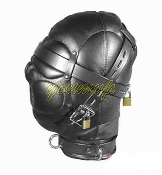 Кожаный секс головной убор сенсорная депривация бондаж капюшон шляпа с замком пряжки секс головной убор с замком J1805