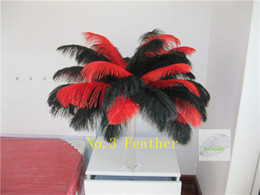 Wholesale Table For Pc - Wholesale 100 pcs 18-20inch red and black ostrich feather for wedding centerpiece Wedding home decoraction wedding table centerpiece