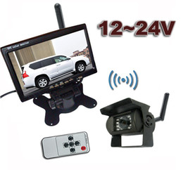 "Wholesale Truck Reverse Camera Wireless - 12-24V Wireless Reversing Parking Backup Camera for bus truck caravan car 7"" LCD Rear view Monitor Screen Kit UP to 50m"