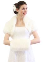 Wholesale Cropped Fur Jacket - Faux Fox Fur Bridal Bolero Crop Jacket DH7396