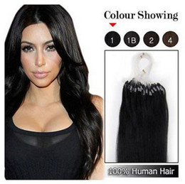 """$enCountryForm.capitalKeyWord NZ - Wholesale -mix lenght 18""""- 22"""" Micro rings loop remy Human Hair Extensions hair extention, #1 jet black ,0.5g s"""
