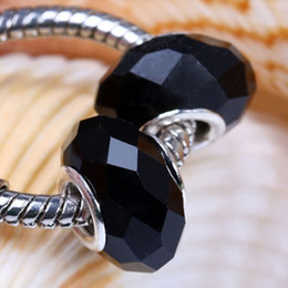 Wholesale Rondelle Glass Crystal - 50pcs Lot Pure Black Murano Glass Crystal Faceted Rondelle Spacer Large Hole Charms Beads Fit European Bracelet