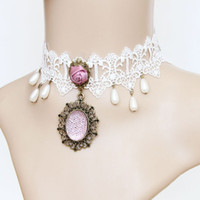 "Wholesale Rose Lace Choker - Whitney houston Jewelry Retro White Lace Choker Necklace with Pink Rose Gothic Style Costume Jewelry Adjustable(12"" to 14"")"