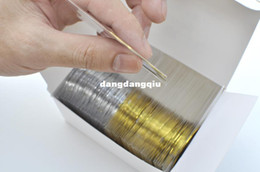 Wholesale Halloween Sticker Nails - Wholesale-Free Shipping 25pcs Gold Color + 25pcs Silver Color Striping Tape Metallic Yarn Line Nail Art Decoration Sticker