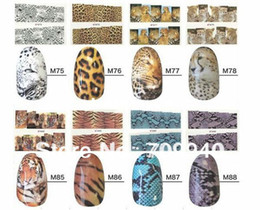 Wholesale Tiger Water Decal Nail - Wholesale-16sheets Tiger Snakeskin Colorful Sexy Leopard Pattern Water Decals Transfer Stickers on nails Nail Art Fingernails Decoration