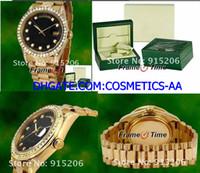 желтые файлы оптовых-Роскошные мужские часы с автоподзаводом 18k золото черный циферблат Алмаз часы 18038 желтого золота файл Box / сертификат