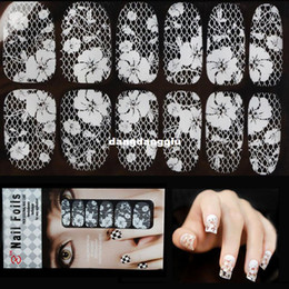 Wholesale Nail Wraps Diamonds - Wholesale-3d White Transparent Lace Nail Rhinestone Nail Art Stickers,16Desgins,6sheets lot Sexy Diamond Flower Nail Wraps Polish Decals