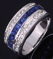 Wholesale Amazing Siding - R039WBS Fashion Size 7 to10 Jewelry New man and woman Amazing Blue Sapphire18K Yellow Gold Filled Party Ring Gift Free Shipping