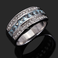Wholesale Gold Filled Aquamarine Rings - Wholesale R039WPA Fashion Size 6 to10 Jewelry men and women Aquamarine 18K White Gold Filled Wedding Ring Gift Free Shipping