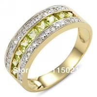 peridot 14k anillos de oro al por mayor-Joyería Nuevo Tamaño 9 to12 Moda hombre y mujer Peridot Cz 14K Yelow Oro Lleno Anillo de Compromiso de Regalo Envío Gratis RY0018