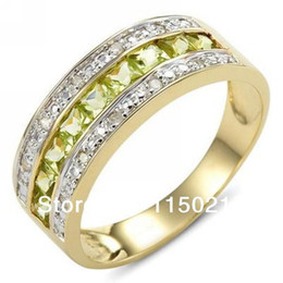 Wholesale Green Cz - Jewelry New Size 9 to12 Fashion man and woman Peridot Cz 14K Yelow Gold Filled Engagement Ring Gift Free Shipping RY0018