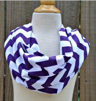 Wholesale Knit Chevron Scarves Wholesale - women scarf Purple Chevron Infinity Scarf Girls Cotton Infinity Scarves, Knit Jersey, Zig Zag Scarves women accessory 5pcs lot