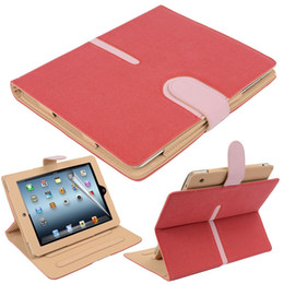 Wholesale Ipad Sleep Cover - Magnetic Buckle 360 Rotating Faux Suede Leather Wallet Smart Flip Stand Case Cover For iPad 2 3 4 5 6 Air Air2 Mini Mini3 With Sleep Wake