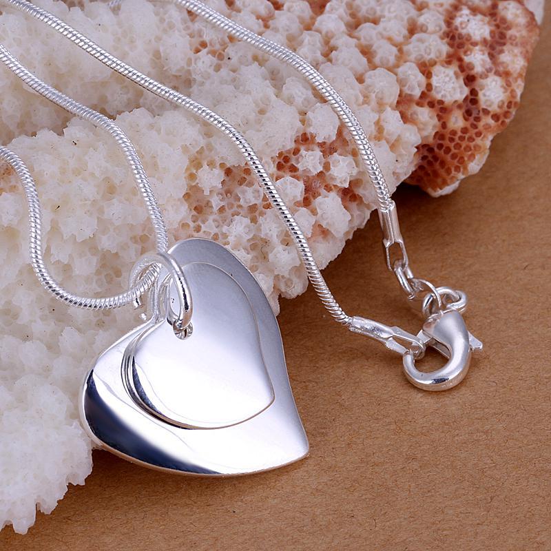 الأزياء والمجوهرات 925 الفضة الاسترليني قلب مزدوج قلادة قلادة هدية عيد الحب للنساء أعلى جودة شحن مجاني