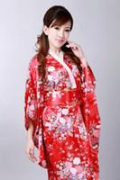 eski ipek kimono toptan satış-Ücretsiz Kargo Yaz yeni satış Vintage elbise Japon kadın Ipek Saten Kimono Yukata Akşam Elbise Çiçek Ücretsiz Boyutu 3 renk H0044