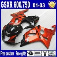 Wholesale Orange Gsxr Fairings - Gold-orange Black fairing kit for SUZUKI GSXR 600 750 K1 GSXR600 GSXR750 01 02 03 GSX R600 R750 2001 2002 2003 fairings