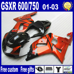 Burnt Orange Black Feeding Kit para Suzuki GSXR 600 750 K1 GSXR600 GSXR750 01 02 03 GSX R600 R750 2001 2002 2003