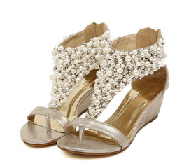 Wholesale Cover Wedges - Free Shipping New Rome Shiny Beaded Wedge Sandals low-heeled wedding shoes