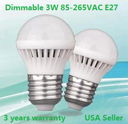 Wholesale Power Sellers - Dimmable 3W LED bulbs 85-265V 300LM E27 led lamp USA Seller 3 years warranty 5730 5630 led lights led down lights free shipping