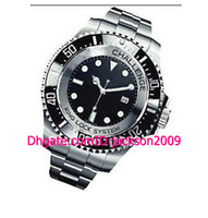 Wholesale Auto 52mm - Free Shping Hot Sales Top Quality Luxury Watches Ceramic Challenge 52MM 116660 Black Dial Stainless Steel Bracelet Automatic Men's Watches