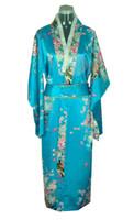 flores de seda japonesas venda por atacado-Frete Grátis Verão nova venda Vintage vestido de Cetim de Seda das Mulheres Japonesas Quimono Yukata Vestido de Noite Flor Tamanho Livre cor Azul H0039