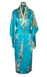 Envío gratis verano nueva venta vestido vintage japonés de seda de las mujeres Kimono Yukata vestido de noche flor tamaño libre color azul H0039 desde fabricantes