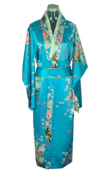 Frete Grátis Verão nova venda Vintage vestido de Cetim de Seda das Mulheres Japonesas Quimono Yukata Vestido de Noite Flor Tamanho Livre cor Azul H0039